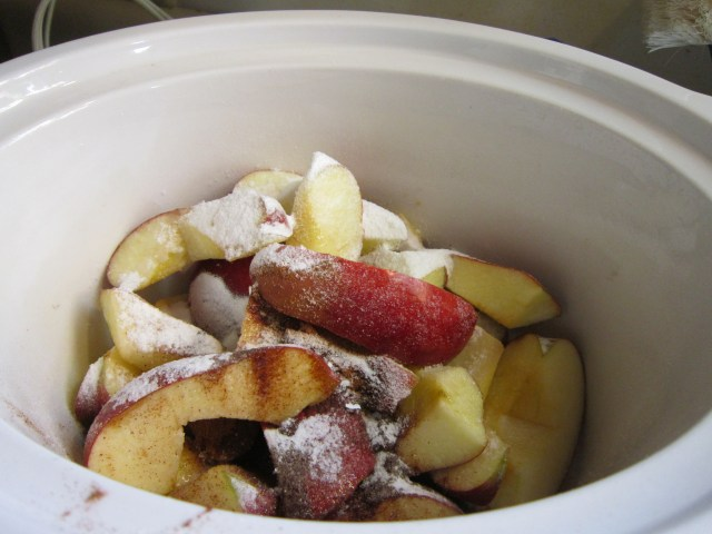 Slow cooking apples