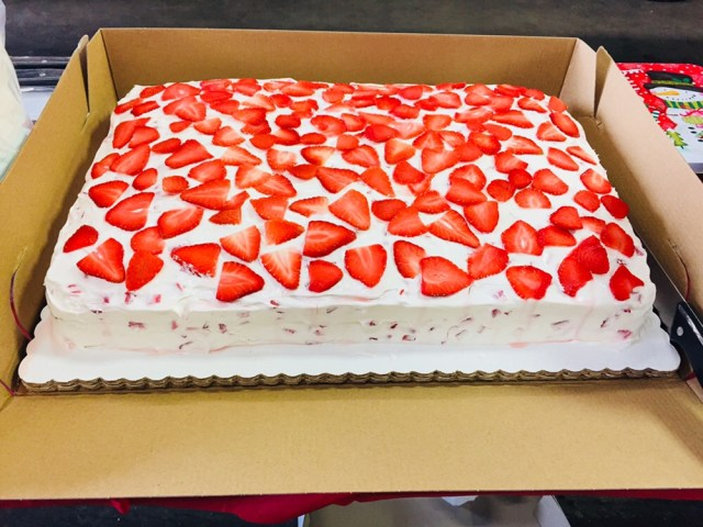 Strawberry cake at the barbecue