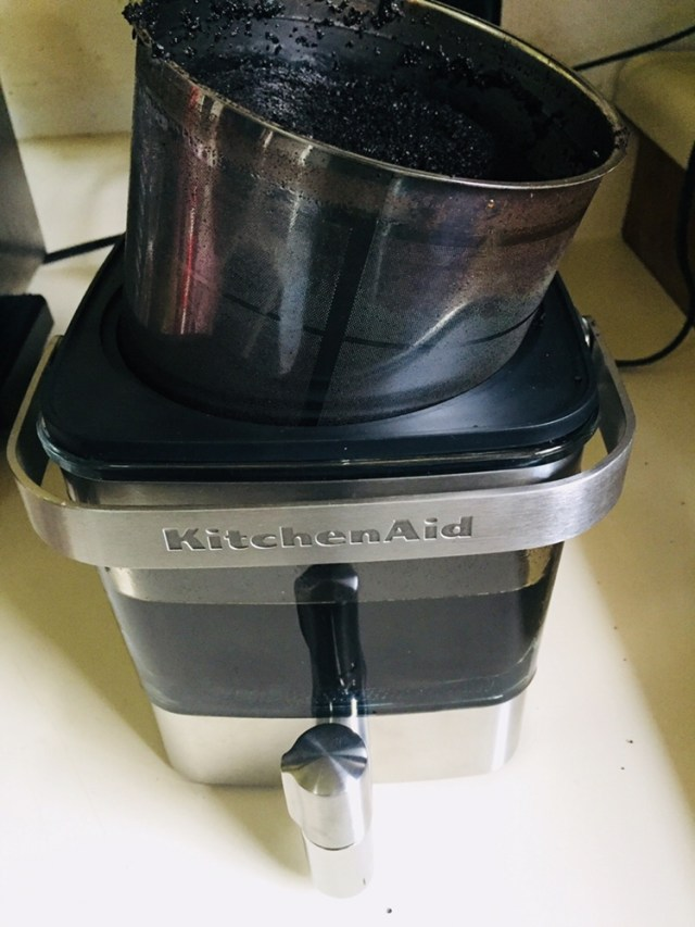 Kitchenaid Cold Brew Coffee Maker draining to one side