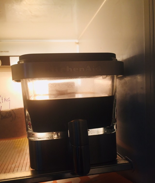 Kitchenaid Cold Brew Coffee Maker in the fridge