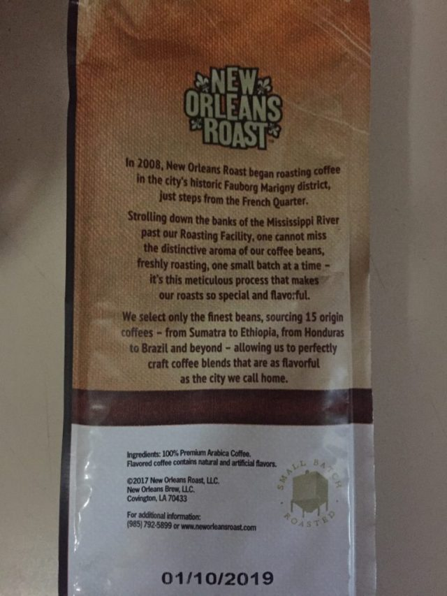 Back of the New Orleans Roast bag