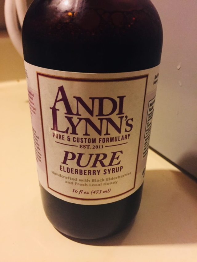 Bottle of Andi Lynn's Elderberry Syrup, 16 ounce bottle.