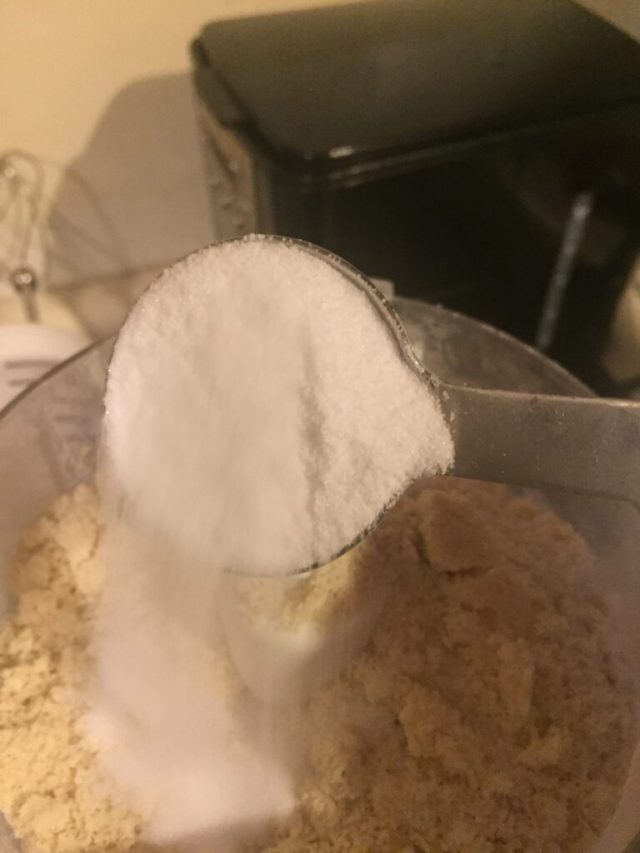 Erythritol pouring into food processor