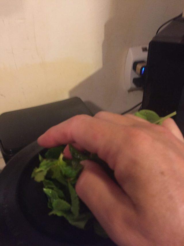 adding herbs to blender