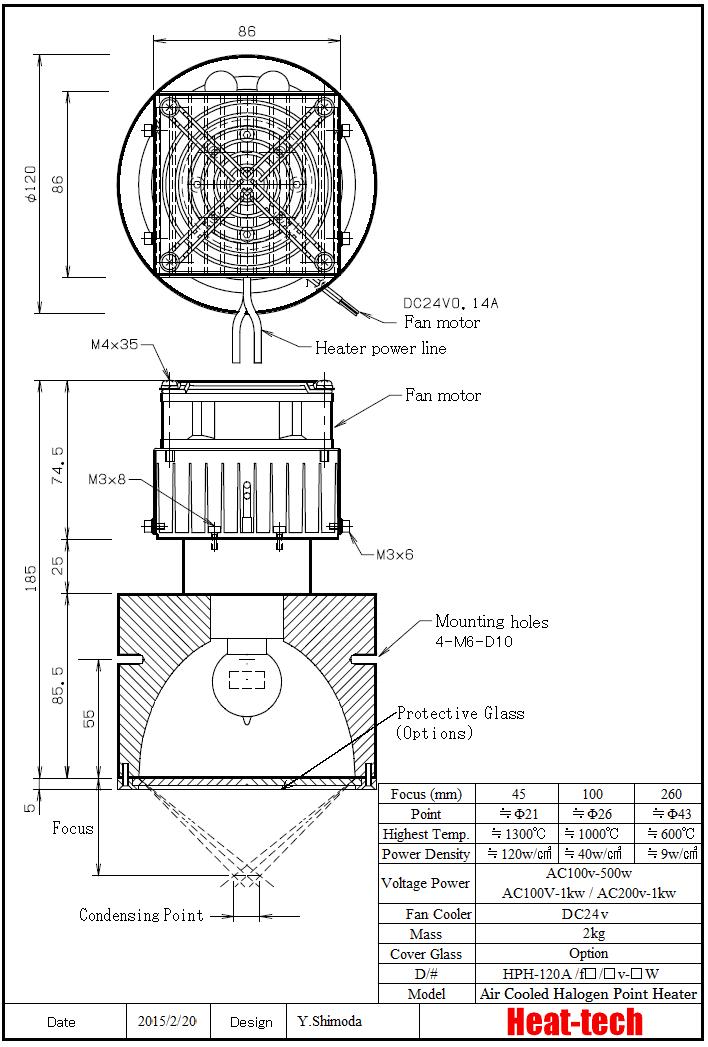 Halogen Point Heater Laboratory-kit HPH-120FA/f45/200v-1kw