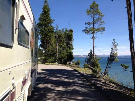 view from our RV at Yellowstone Lake