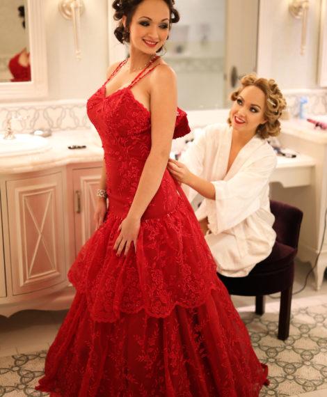 Heather Spears Custom Maid of Honor Dress Disney Fairytale Wedding