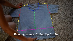 T-shirt to Jacket DIY - Step 2 Where to cut Front Jacket