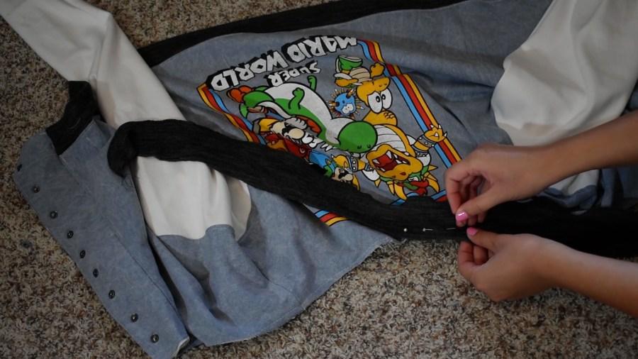 T-shirt to Jacket DIY - Step 14 Finishing Collar with Ribbing