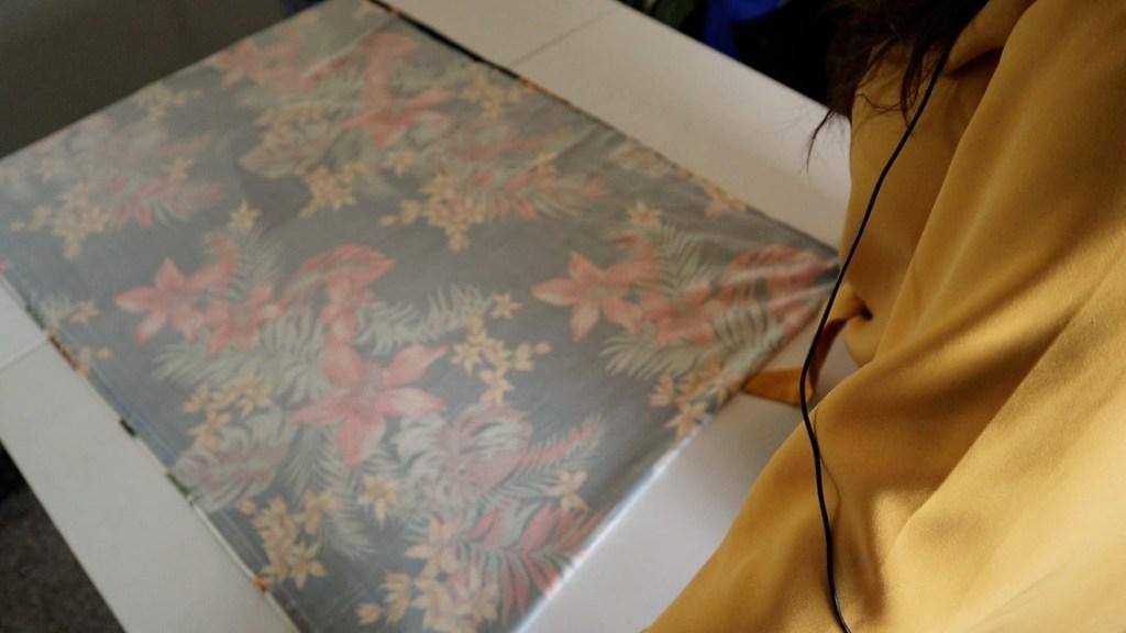Easiest DIY Maternity Dress Step 2 Folding fabric