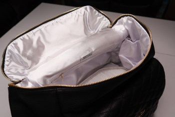Satin Interior of perfect purse for new moms