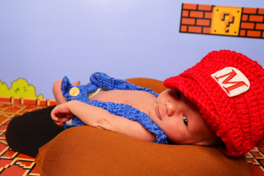 Hudson Girgenti in Mario outfit for his 13 day old shoot