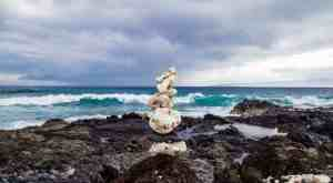 Stack of rocks on rocky beach