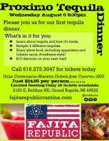 Marketing Collateral for a Tequila Dinner.