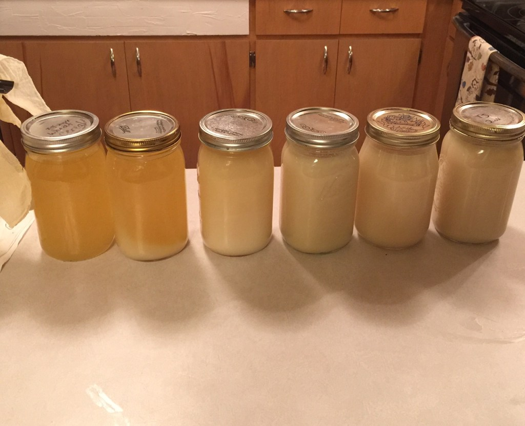 Different stages of rendered down lard