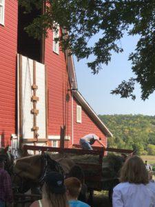 lifting hay into the loft