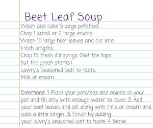 Recipe for Beet Leaf Soup