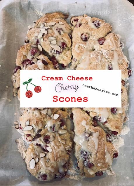 Cream Cheese Cherry Scones #heatherearles #herbnwisdom #naturalliving #sconerecipe #nankingcherries #homesteading #farmgirlcooking #cherries