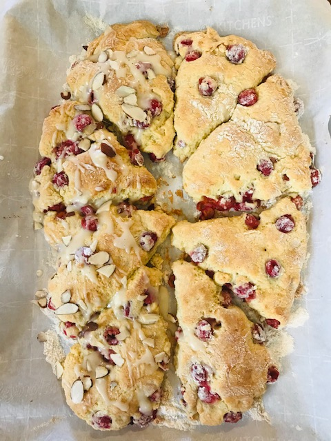 finished cream cheese cherry scones