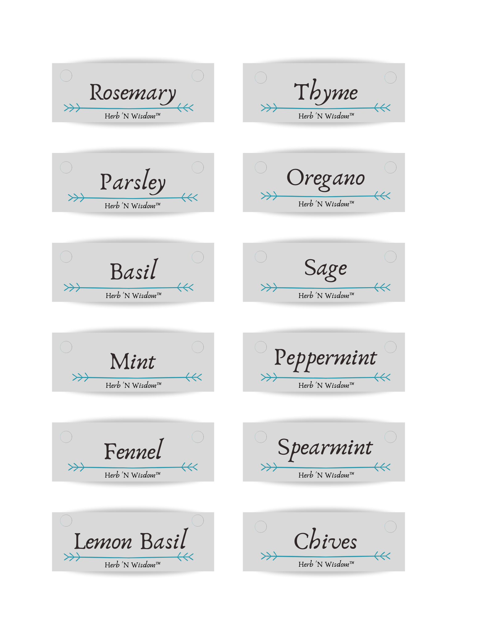 Printable Herb Labels by Herb 'N Wisdom™