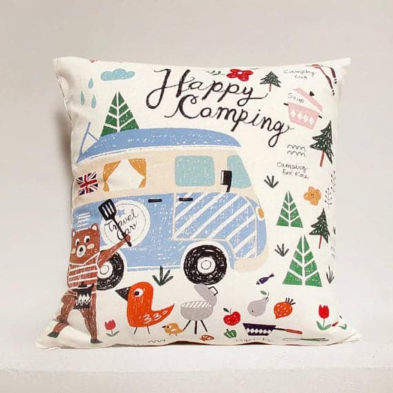 camping theme pillow  The Heathered Nest
