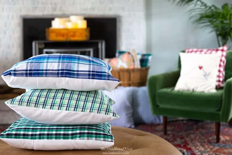 Recycle a Shirt to create these plaid pillow covers by heathered nest