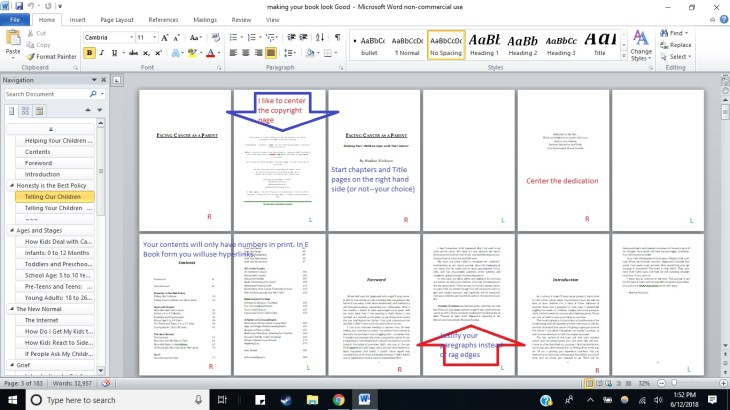 Formatting Making your book look good