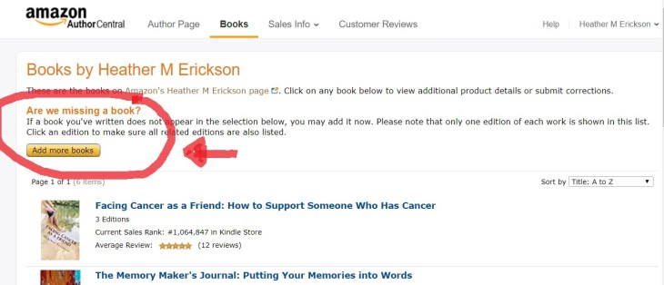 Add Books to your Amazon Author Page