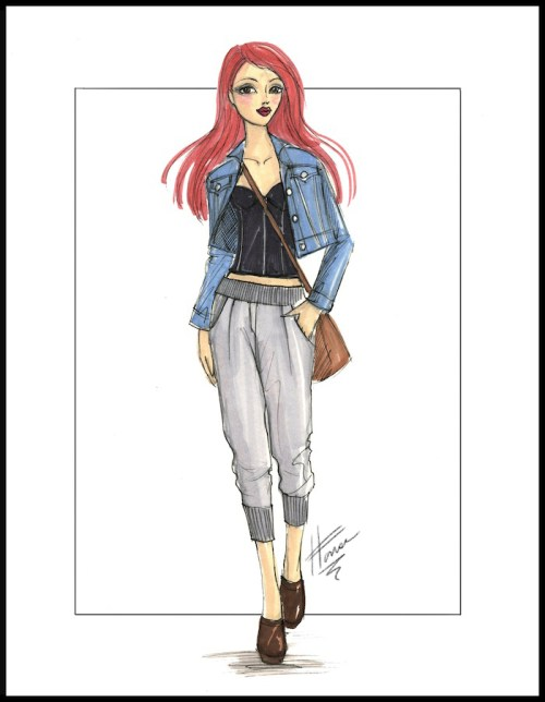 Fashion illustration of a black bustier worn with a denim jacket and slouchy pants.