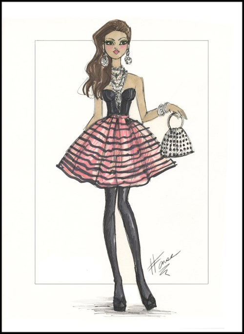 Fashion illustration of a black bustier worn with a striped skirt and high heels.