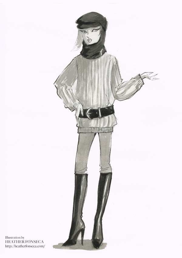 Black and white illustration of a big Sweater, Leggings and Echapeau