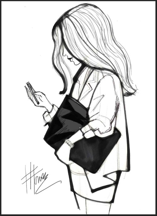 Drawing of a girl and her phone