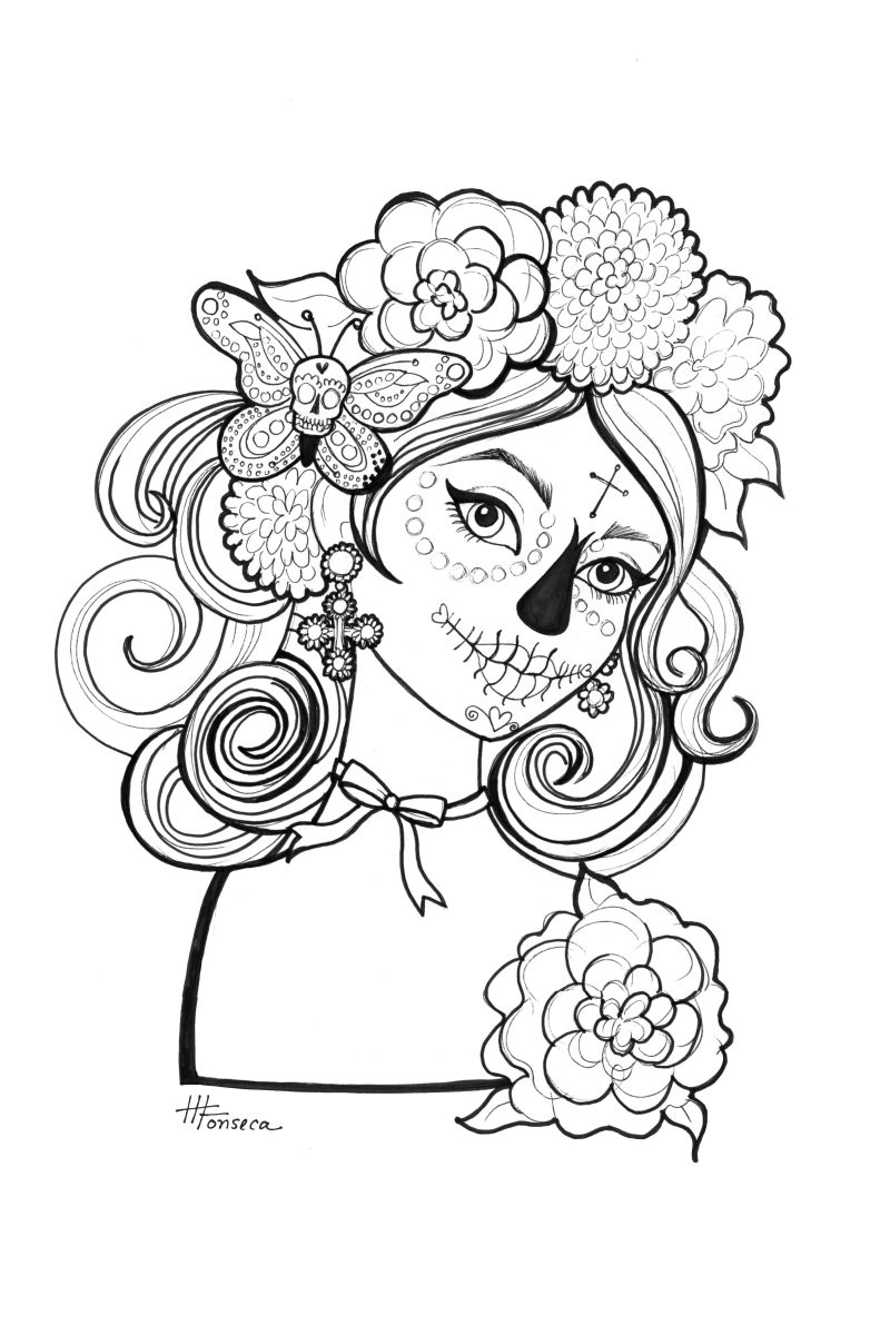 day of the dead coloring pages - Day Of The Dead Coloring Book