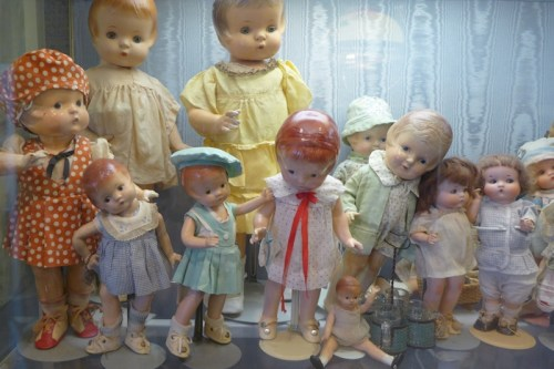 Vintage dolls on display at Angel's Attic Museum