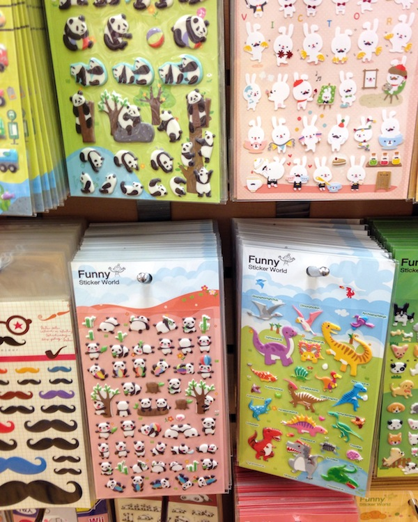 Puffy stickers on sale in Little Tokyo