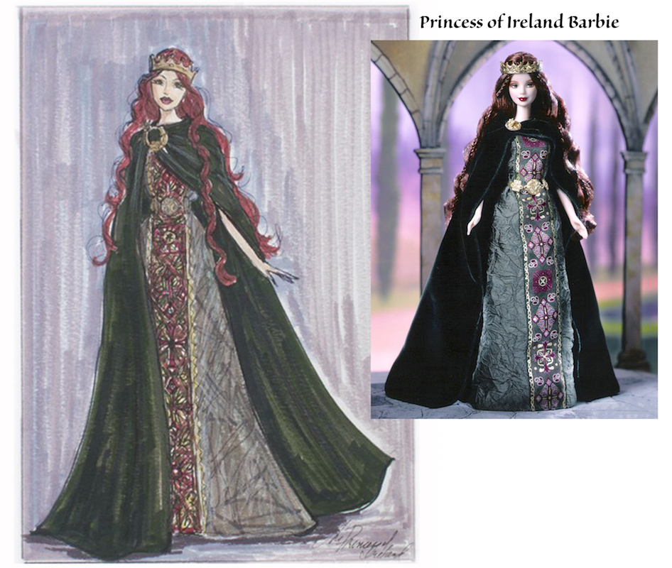 Princess of Ireland Barbie Illustration and doll by Heather Fonseca