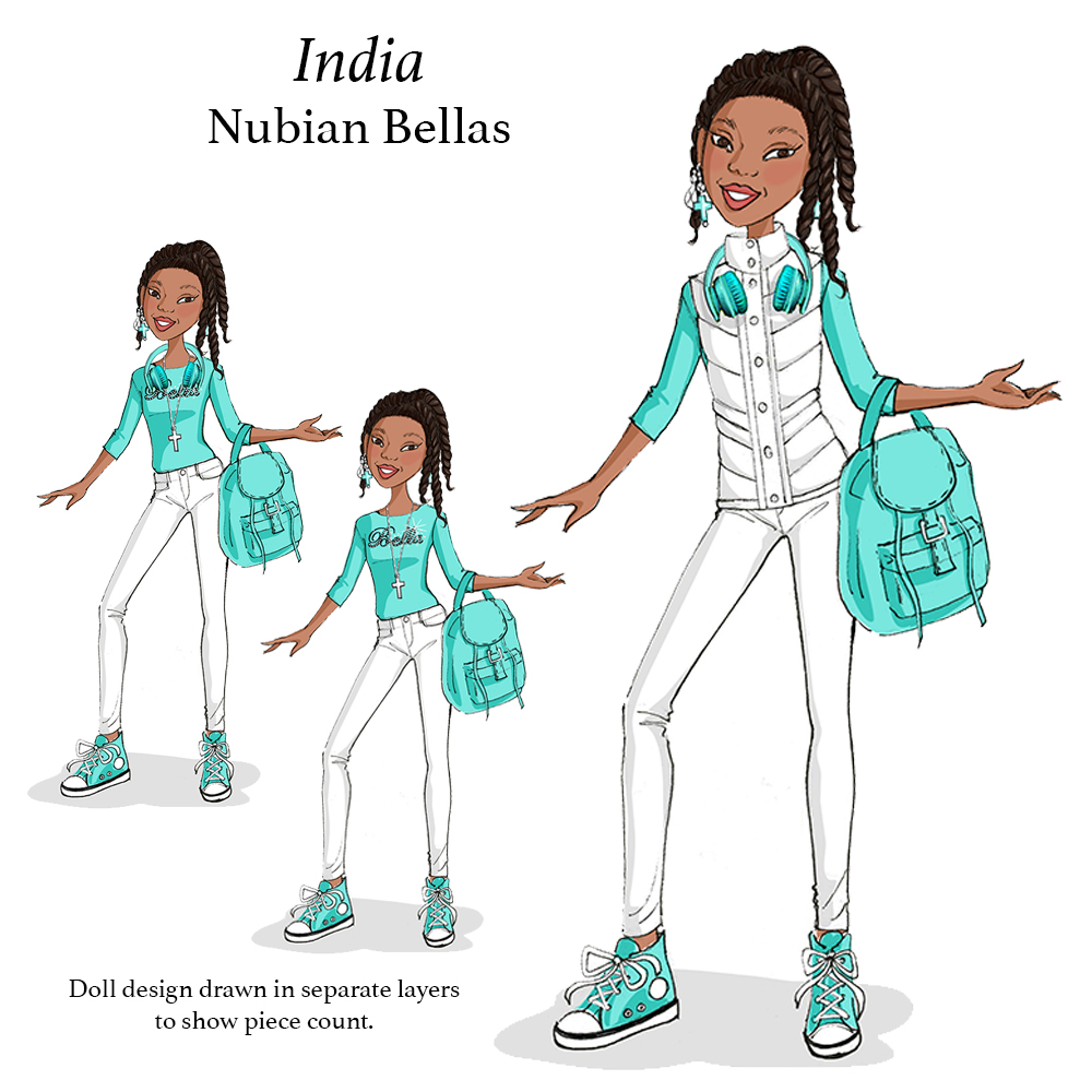 India doll illustration for NubianBellas