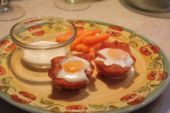 Eggs wrapped in ham (use an oiled muffin tin!): favourite go-to-dinner item for this author! Thankfully, our daughter loves it. She'll be eating this often in the next few weeks, because Mommy's writing a book!