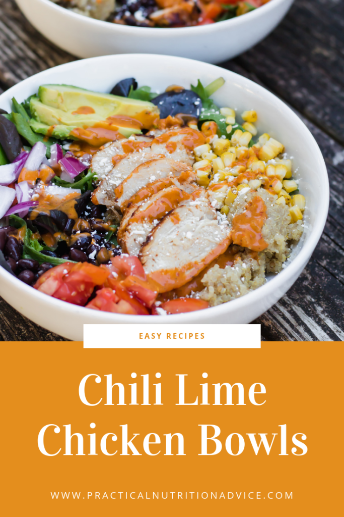 grilled chili lime chicken bowls with a homemade chipotle lime dressing. These bowls are a healthy complete dinner and are perfect for an easy weekly meal prep. This recipe includes a chili lime marinade. Gluten free friendly mexican inspired easy dinner recipe.