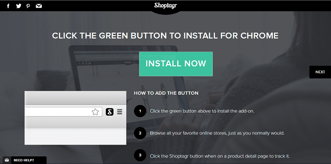 Shoptagr has a bookmarklet you can install to your Google Chrome as an extension.