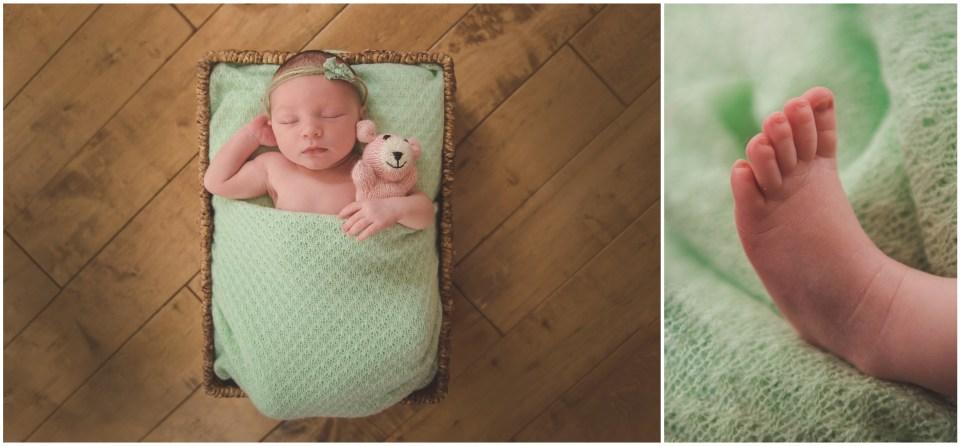 south jersey newborns, baby girl, neutral, wood floor, basket, green, mint, teddy bear