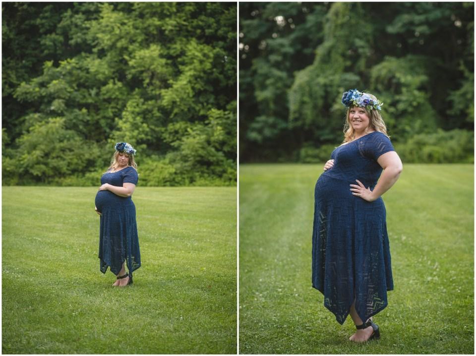 summer maternity portraits, sayen gardens, hamilton new jersey, flower crown