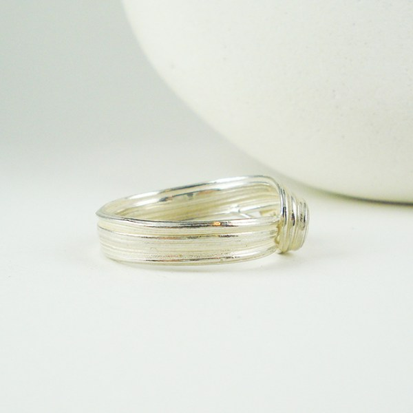 silver wave ring side view