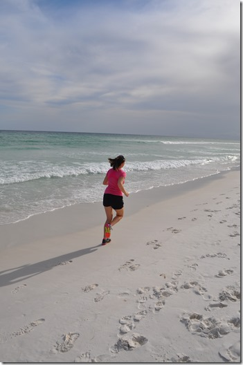 running at the beach