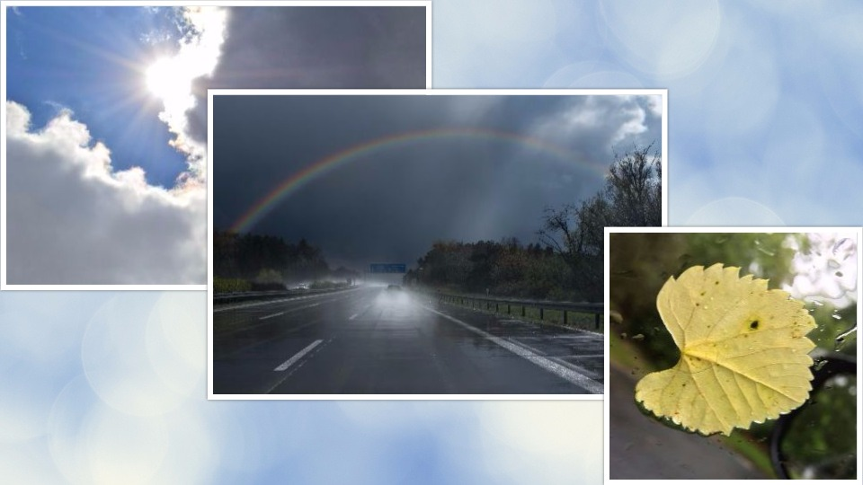Happiness is the sun breaking through clouds, a rainbow over a rainy road, a golden leaf on a wet window.