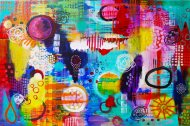 Heather Carr painting 2012 art abstract bright colorful circles rain