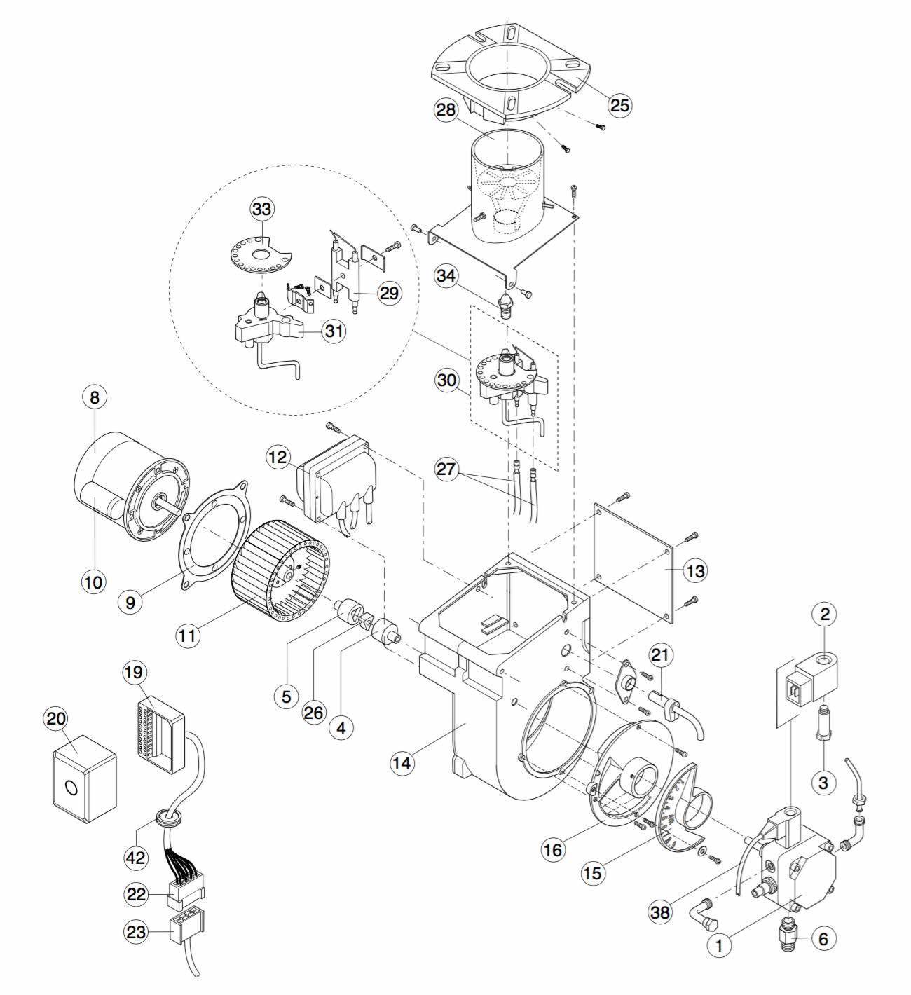 Ecoflam Minor 1 Stanley 60k-80k-100k Boiler Burner Parts