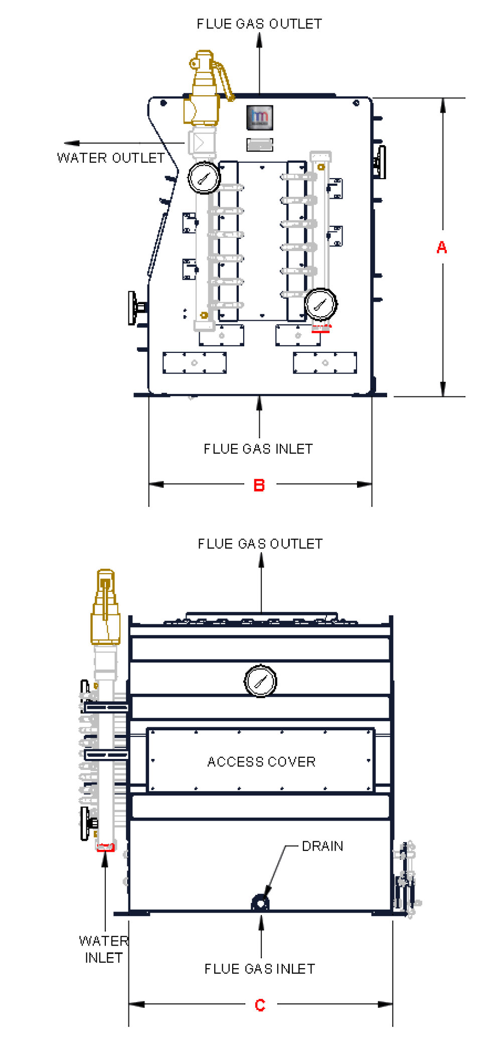medium resolution of heat recovery exchange boiler economizer heatmizer arrow pipe diagram stack economizer piping diagram