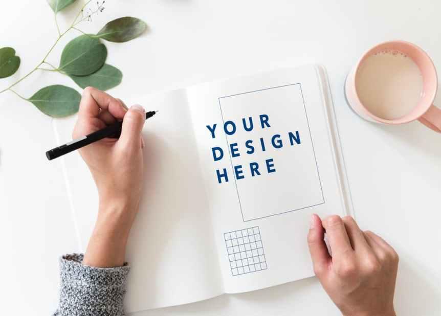 design here draft in notebook