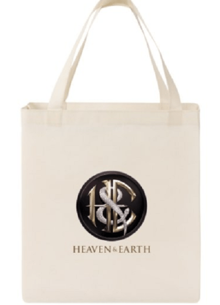 White Tote Bag with Heaven & Earth Logo and Text